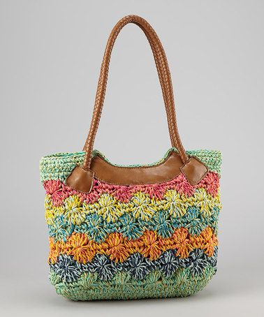 Take a look at this Sea Green & Tan Crocheted Straw Shoulder Bag by Boardwalk Style on #zulily today!