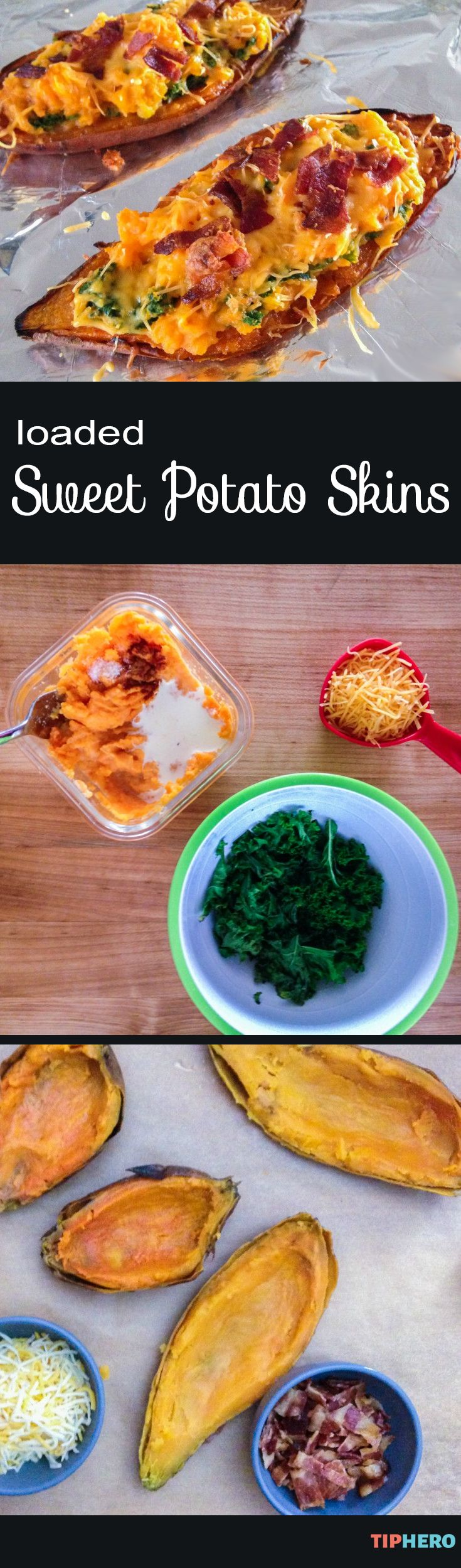 Loaded Sweet Potato Skins Recipe   Mmm-mmm.... what's not to love about these cheesy spuds? Topped with cheese, kale and crumbled bacon they're as good as the real things but with a sweet potato base so they are a little sweeter and a little better for you. Click for the recipe. #sides #homecooking #easyrecipes #partyfood