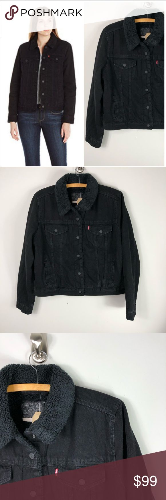 NEW Levi's Denim Trucker Sherpa Jacket Black Jean NWT