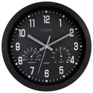 La Crosse Technology 12 in.H Round Black Analog Wall Clock with Temperature and Humidity-404-2631 - The Home Depot $20