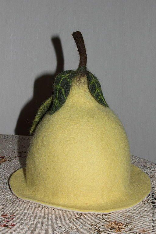 """Купить Шапки для бани """"Фрукты"""" лимон, мандаринка и яблочко - шапка для бани, подарок женщине"""