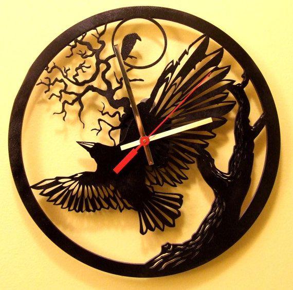 raven tree modern wooden wall clock.Black by joannakrzepkowska, $49.00