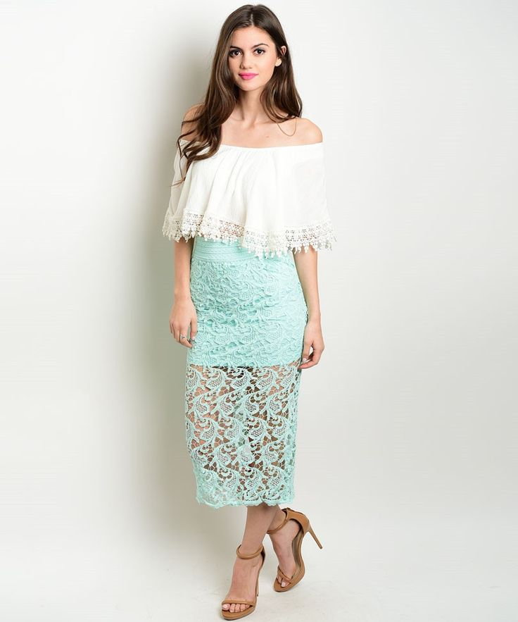 Mint Crochet Midi Skirt