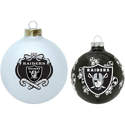 Oakland Raiders Round Glass Ornaments