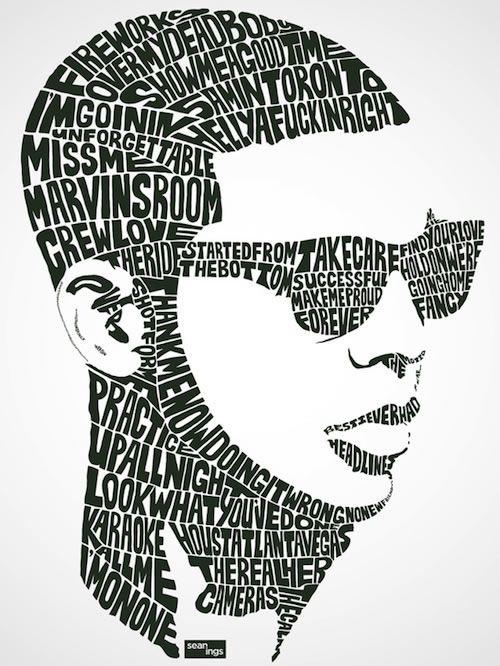 Travail de typo-designer Sean Williams qui a dessiné chaque portraits d'acteurs connus et de pop star