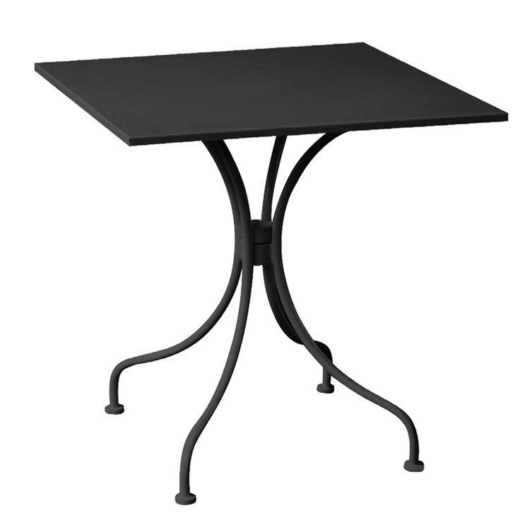 Park garden table square steel black E5171