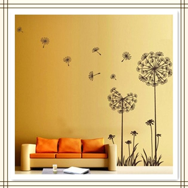 Hot-Pvc-wall-stickers-TV-backdrop-wallpaper-DIY-decoration-Black-dandelion-Large-50X70cm-10pcs-lot-Free.jpg (630×629)