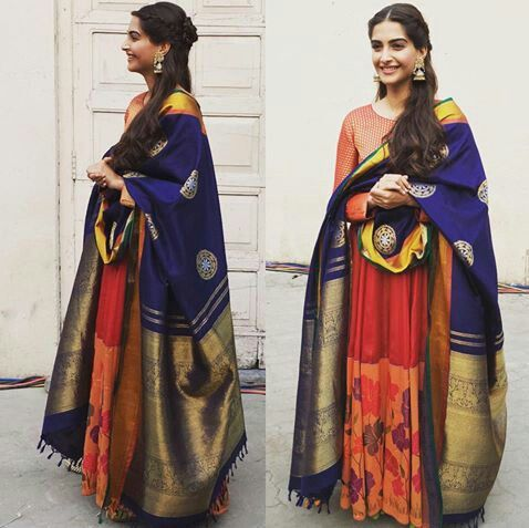 Sonam Kapoor in a Gaurang Shah anarkali and heavy silk dupatta. Indian Bollywood fashion.