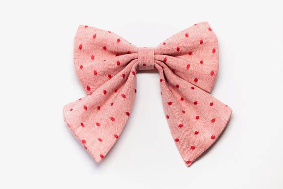 STRAWBERRY SWISS DOT handmade headband hairbow