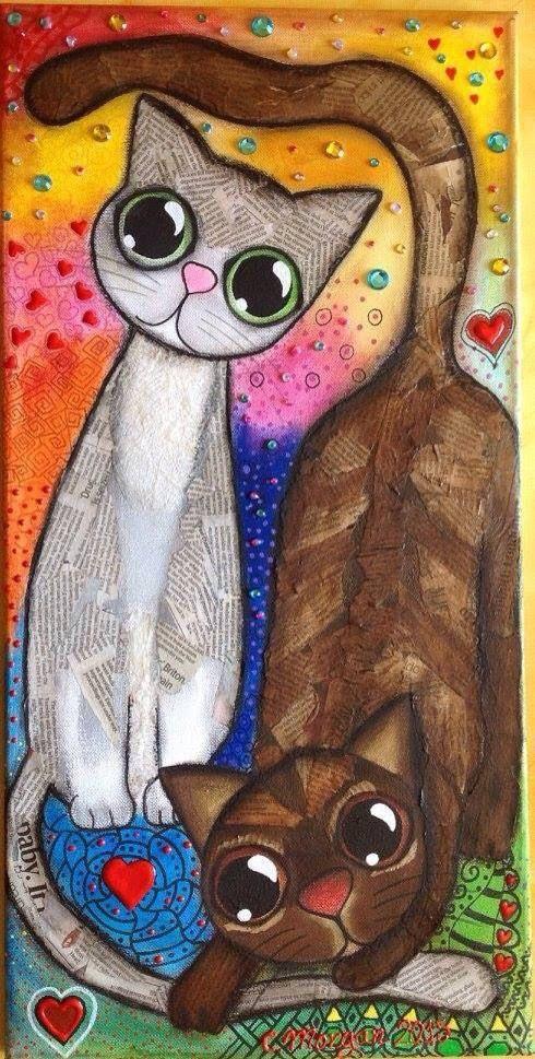 Gato pintura. Gatos pintados, gatos tiernos, gatos dibujados. Quieres un cuadro con tu gato o gatos? Este mide 60x30cmSolo tienes que mandarme por email una nueva foto de ellos y te los pinto. Envío a todo el mundo. Estos son dos ejemplos con mis gatos. Hello, if you want a picture of your cat you just have to send me your picture by e-mail. Cat, cats, gato, gatos, mis gatos, my cats, mascotas, pets, Mixedmedia, mixed media , cuadros, canvas, lienzos