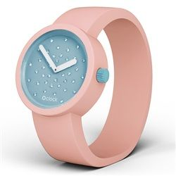 O clock watch - Crystal Turquoise Face with Powder Pink Strap