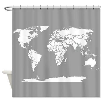 World Map Shower Curtain Travel Theme Minimalist Grey And White Home Decor