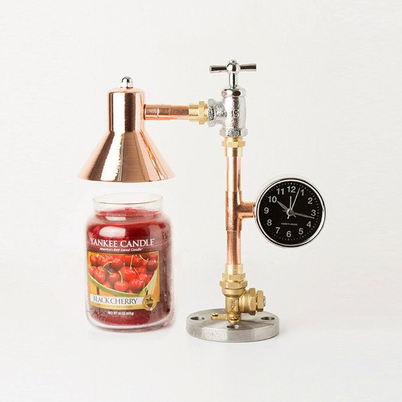 PIPE STORY produce and sell genuine handmade industrial vintage style pipe lamps PSCW-02 COPPER PIPE CANDLE WARMER LAMP -ITEM DETAILS- *Size : L 11cm X W 25cm X H 28cm *Weight : 1.6kg *Voltage : 12V 5A *Clock : Alarm black clock *Socketsize : MR16 *Bulb : MR16 12V 50W Halogen bulb