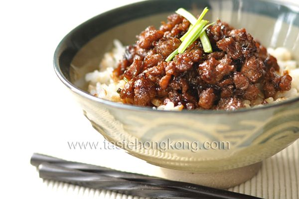 Pork Sauce Rice, a Taiwanese Snack Recipe Lunch and Snacks with ground pork, garlic, shallots, ginger, cooking oil, spring onions, cooked rice, dark soy sauce, light soy sauce, rice wine, rock sugar, water, marinade, salt, ground white pepper, corn flour, oil