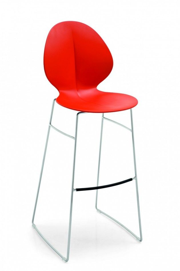 Basil Barstool by Calligaris: Basil bar and counter stools.  Chrome frame, polipropelene seat available in 4 colors....white, tauope, mustard yellow, red. Available at POMP HOME in Culver City, CA. www.pomphome.com