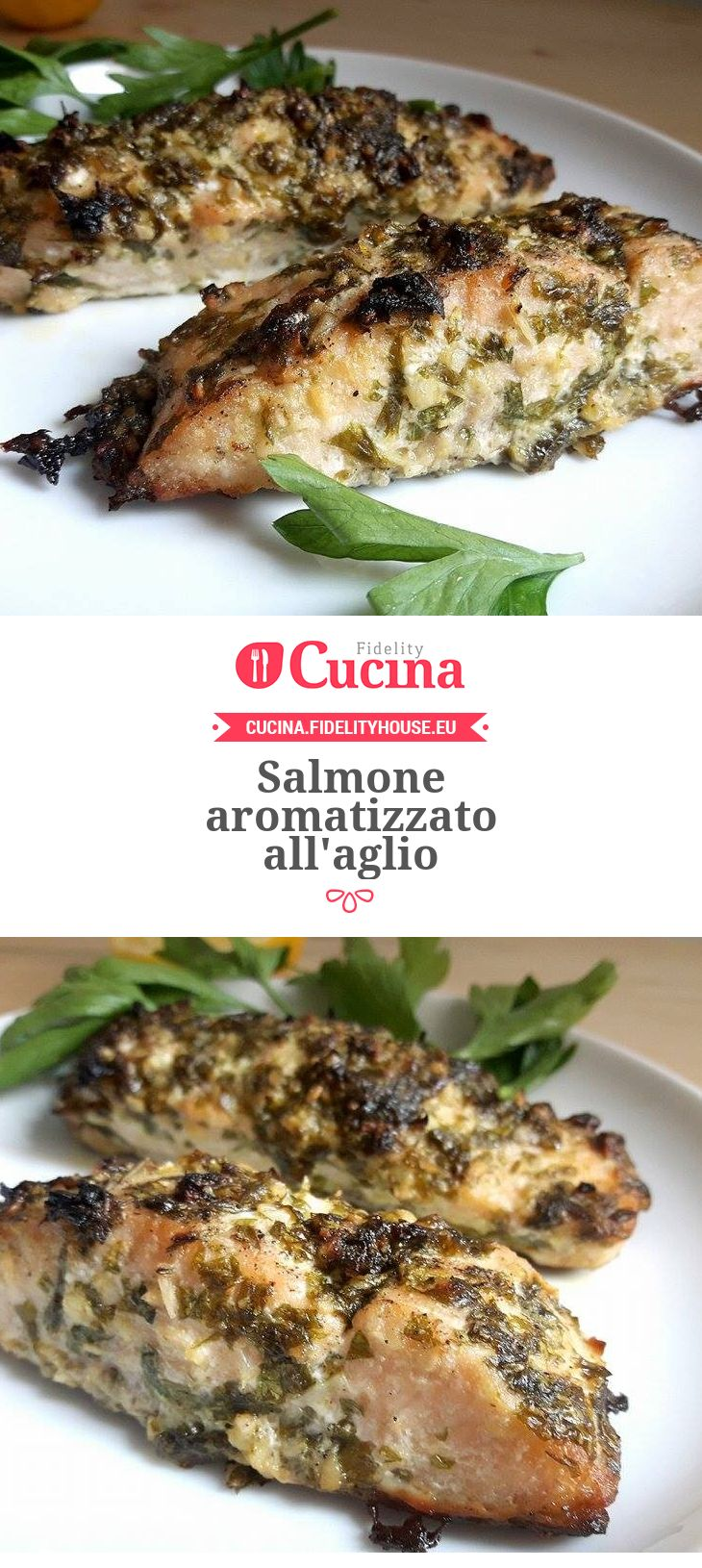 Salmone aromatizzato all'aglio
