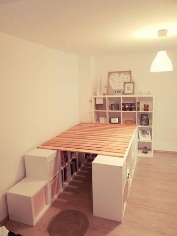 Ein Hochbett Aus Ikea Kallax Regalen Zimmer Renovierungen Ikea Kallax Regal Schlafzimmer Diy