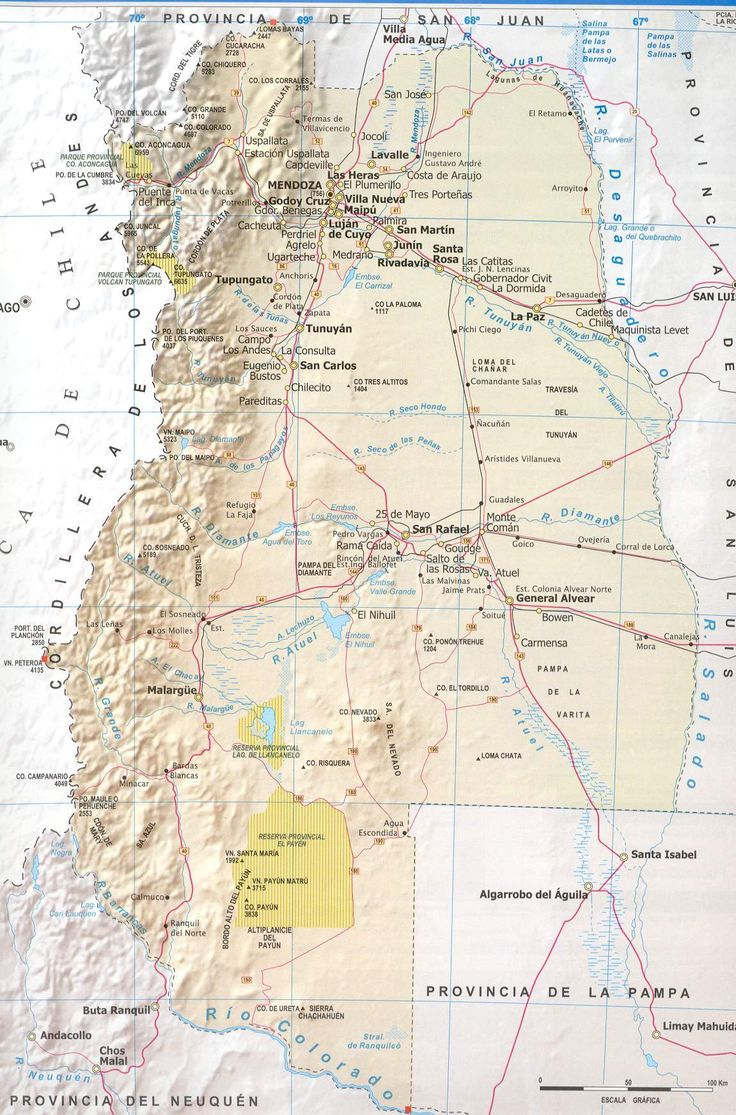Mendoza Province Road Map - Mendoza Argentina • mappery