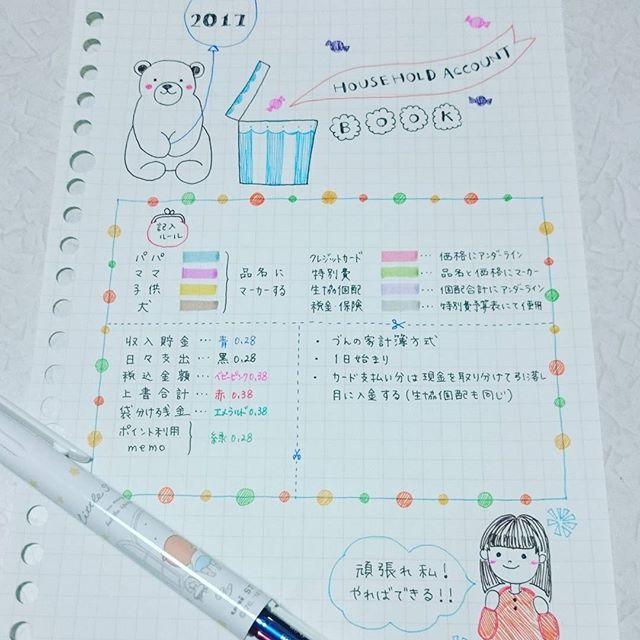 Instagram media by knk_kirokugoto - 家計簿2017 * 最近子供たちと寝落ち続きですが、今朝は珍しく朝活できました✨. 来年の家計簿を作成中なので、ただの自己満postですが、記録させてください * 来年の家計簿の表紙です✨. 先日新たに購入したイラスト本を見ながらカキカキしてみました⤴イラストってほんと難しいけど楽しいまずは真似るところから始めましょうってその本にも書いてたので、まるまる真似っ子です * * 先日のpostに貴重なご意見ありがとうございましたみなさんのコメントを読むうちに、そうかとひらめきポイントがたくさんあって、とても参考になりました私は頭でっかちなので、うーんってなるとうーんのままだったりするのですが、みなさんの色々な形や考え方を聞けて本当に助かってますありがとうございます. #家計簿#家計簿2017#家計簿仲間募集中#家計簿頑張る部#今日は引きこもりのNOマネーday#来年の家計簿作成中#イラスト#下手っぴだけど描くのは楽しい#自己満だけどそれでいい