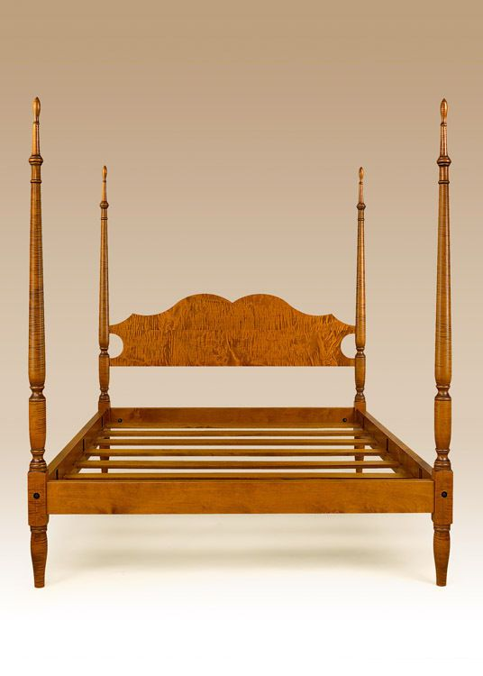 Poster Bed Queen Size Tiger Maple Wood New Bedroom Furniture Sheraton Traditional Mom