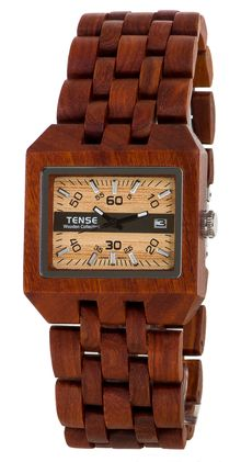 TENSE WATCH: Newest addition to our Discoveries Collection. Made of natural solid Sandalwood. Sizable to fit all. Comox - Model B5100S ~ $189
