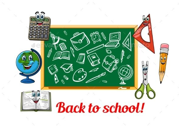 Back To School Theme Design With Stationery Items
