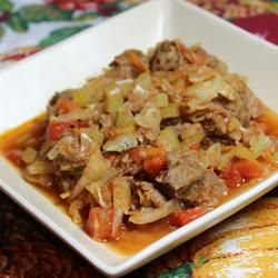 Low-Carb Beef Cabbage Stew - A good entree whether you're on a low-carb diet or not!  #allrecipesfaceless #myallrecipes #AllrecipesAllstars
