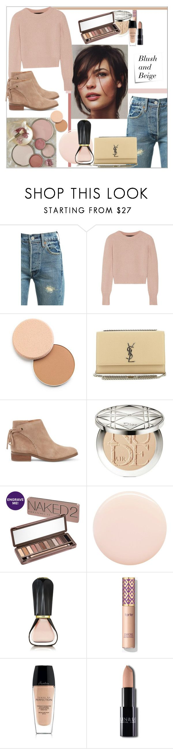 """""""Blush and Beige"""" by tattooedmum on Polyvore featuring Levi's, The Elder Statesman, Shiseido, Yves Saint Laurent, Sole Society, Christian Dior, Urban Decay, Oribe, Guerlain and Post-It"""