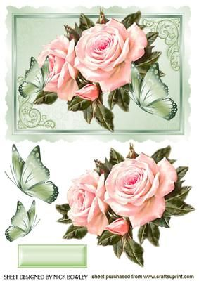 BEAUTY BEAUTIFUL PINK ROSES WITH BUTTERFLIES on Craftsuprint - Add To Basket!