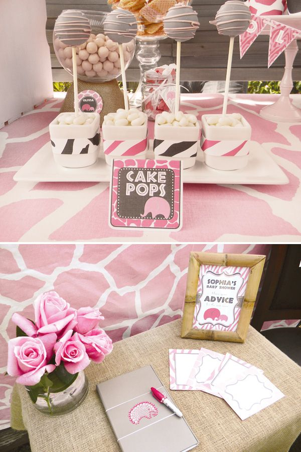 Cute Pink Safari Baby Shower. Like the idea of having guest write down their advice for the mom-to-be. Great displays!