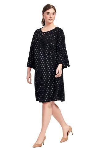 Plus Size MICHEL STUDIO BY ADDITION ELLE Bell Sleeve Split Neck Dress
