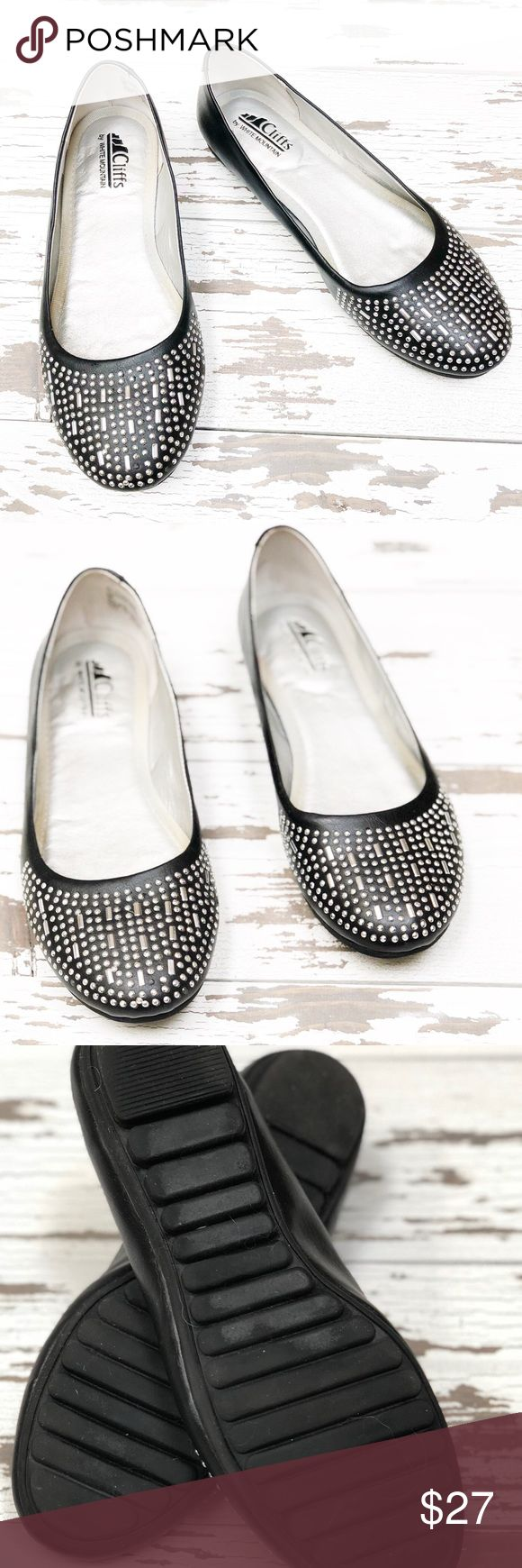 ⭐️ Like New ⭐️ CLIFFS Metallic Studded Flats Shoes have been gently worn but in like new condition. Size 8 medium and they are made from all man-made materials. The foot bed has lots of cushion. White Mountain Shoes Flats & Loafers