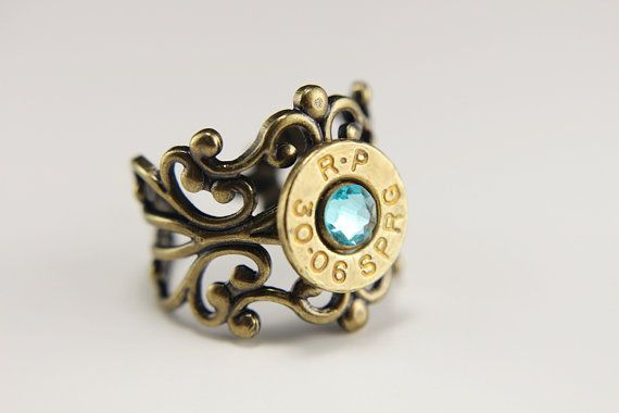 High Quality Adjustable Bullet Ring - Bullet Jewelry - Bronze Filigree Ring - Crystal Ring - Southern Jewelry - Antique Ring - Vintage Ring
