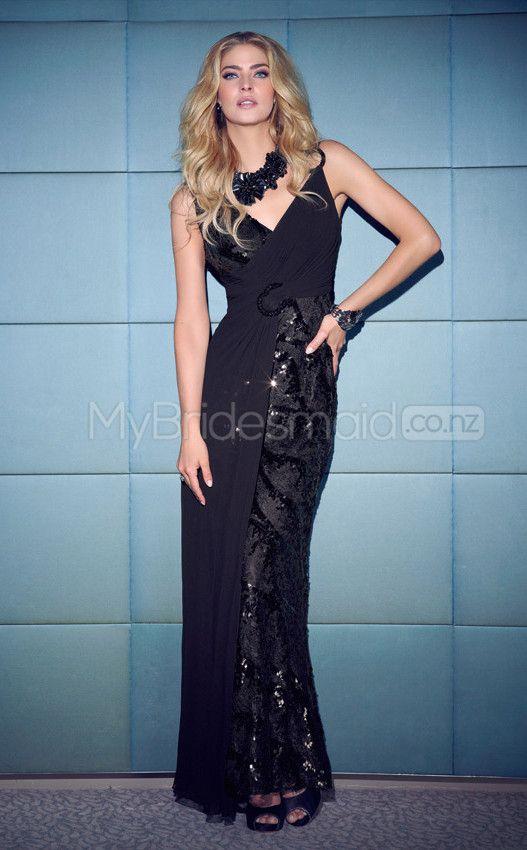 Lace Sheath V-neck Floor-length Black Ball Dresses(JT621)