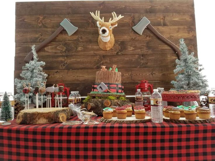 A awesome Lumberjack 1st birthday party for a little boy. The backdrop is so cute! See more party ideas at CatchMyParty.com
