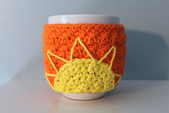 Bright Orange Coffee Cup Cozy with Sun and Yellow by makinitmama, $10.00