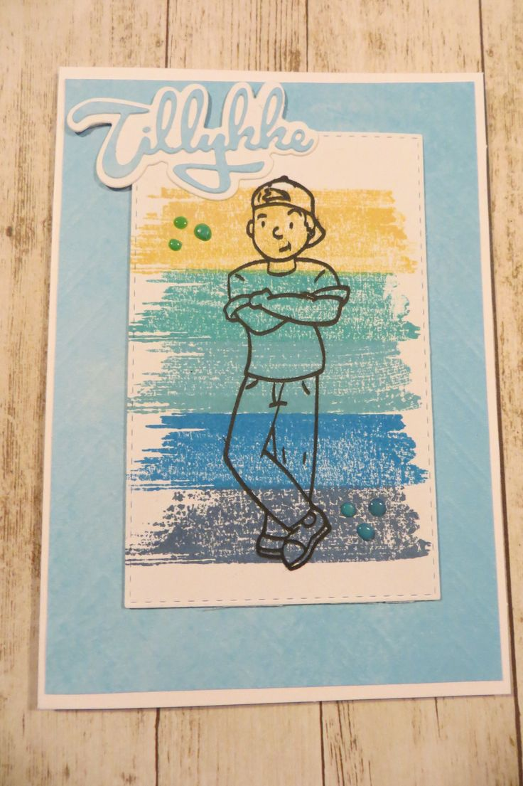stemplet Teenage Drenge af NHH Design. kortet er lavet af Randi Heldt-Hansen