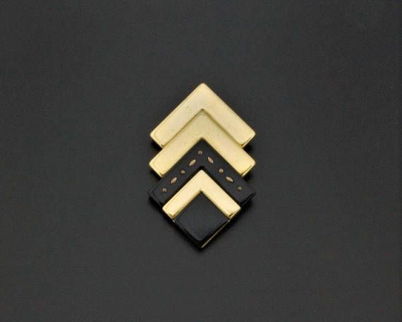 Edgy Italian Vintage 1980s Geometric Brooch Pin Gold-Tone