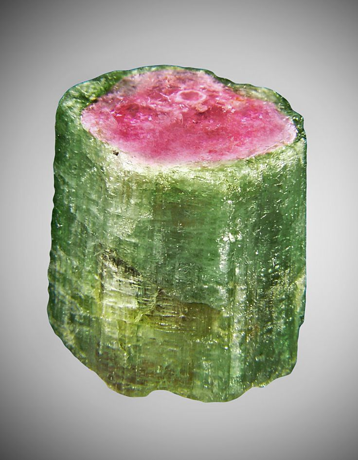 Watermelon Tourmaline / The colors are indicators of the presence of chromium (red), lithium (green, pink), manganese (pink), or vanadium (green). / Paprock, Afghanistan