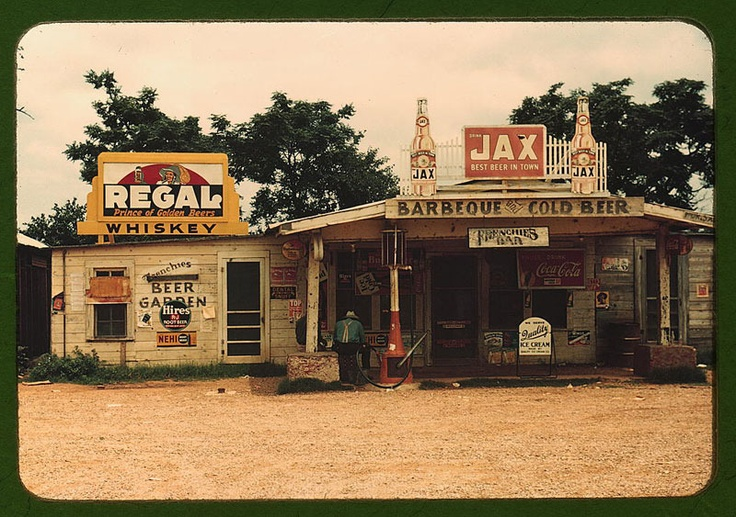 america: Libraries Of Congress, Stores Front, Juke Jointed, Cotton Plantation, Color, Louisiana, 1940, Photo, Old Gas Stations