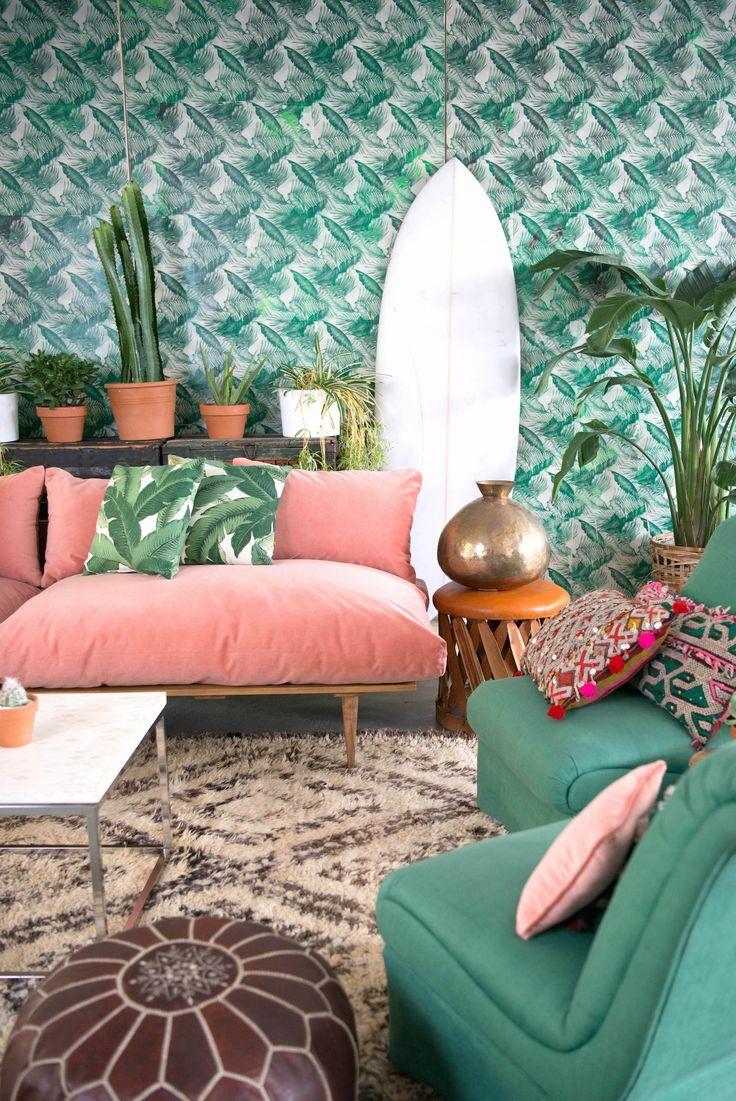 tapiz, sofá rosa