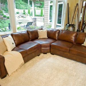 Elements Carlyle Top Grain Rustic Leather Sectional Sofas