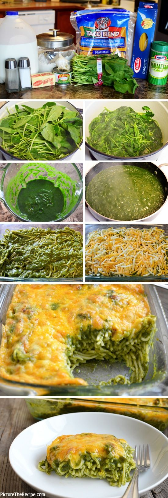 Baked Cheesy Spinach Pasta