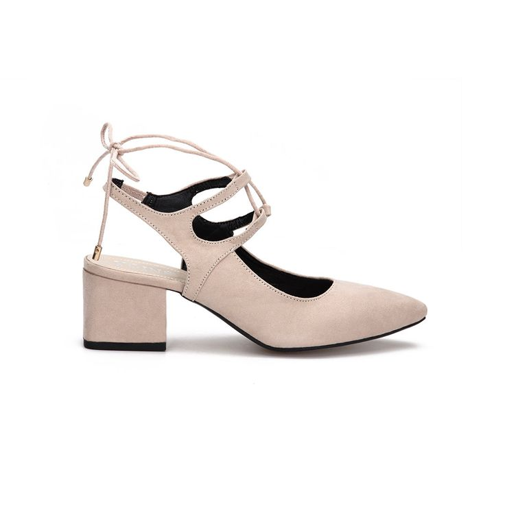 Start a ladies life style with this suede pointed toe lace-up slingback shoes. It will be very gorgeous match to team it with a black little dress and a slender chain bag.