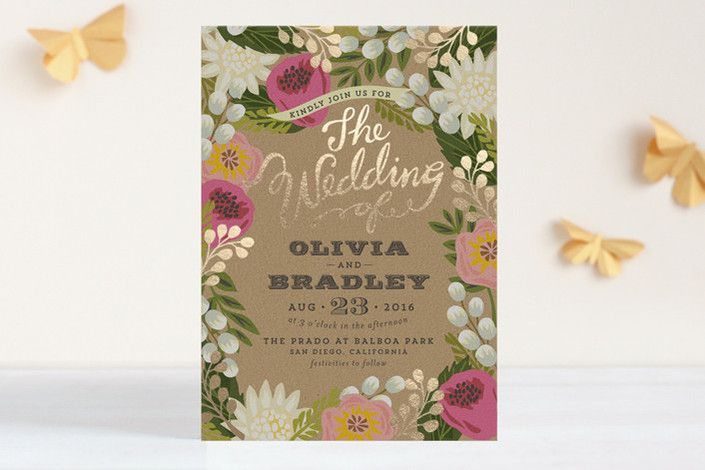 The prettiest gold-foil + floral wedding invitation!