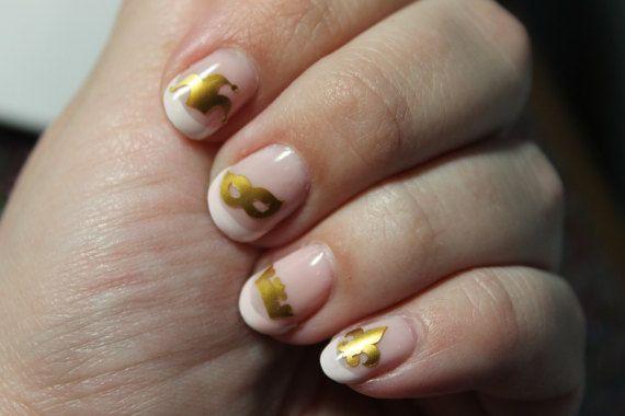31 Mardi Gras theme vinyl nail decals in gold. Nail decals