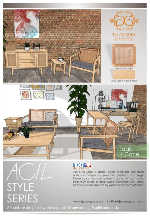 Ide Desain Furniture; Acil Style Series - A Natural Fresh and Clean Furniture.  We design our furniture by using 3d software before we produce them as well. 3d drawing furniture concept by the Jepara Goods Woodworking Studio Indonesia Furniture Designer and Manufacturer. #minimalist #canefurniture #retrofurniture #vintagefurniture #scandinaviafurniture #midcenturyfurniture #drawingfurniture #designidea #3ddesign #3dfurniture       jeparagoods.com
