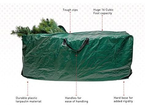 Premium Christmas Tree Storage Bag Review: When you're looking for an extra-large and durable storage solution for your artificial tree then you're going to love this one bag. It's big enough to hold a 9-foot disassembled tree; the bag measures 63 inches by 15 inches by 29.5 inches. What's important about a tree storage bag is the durability of it.