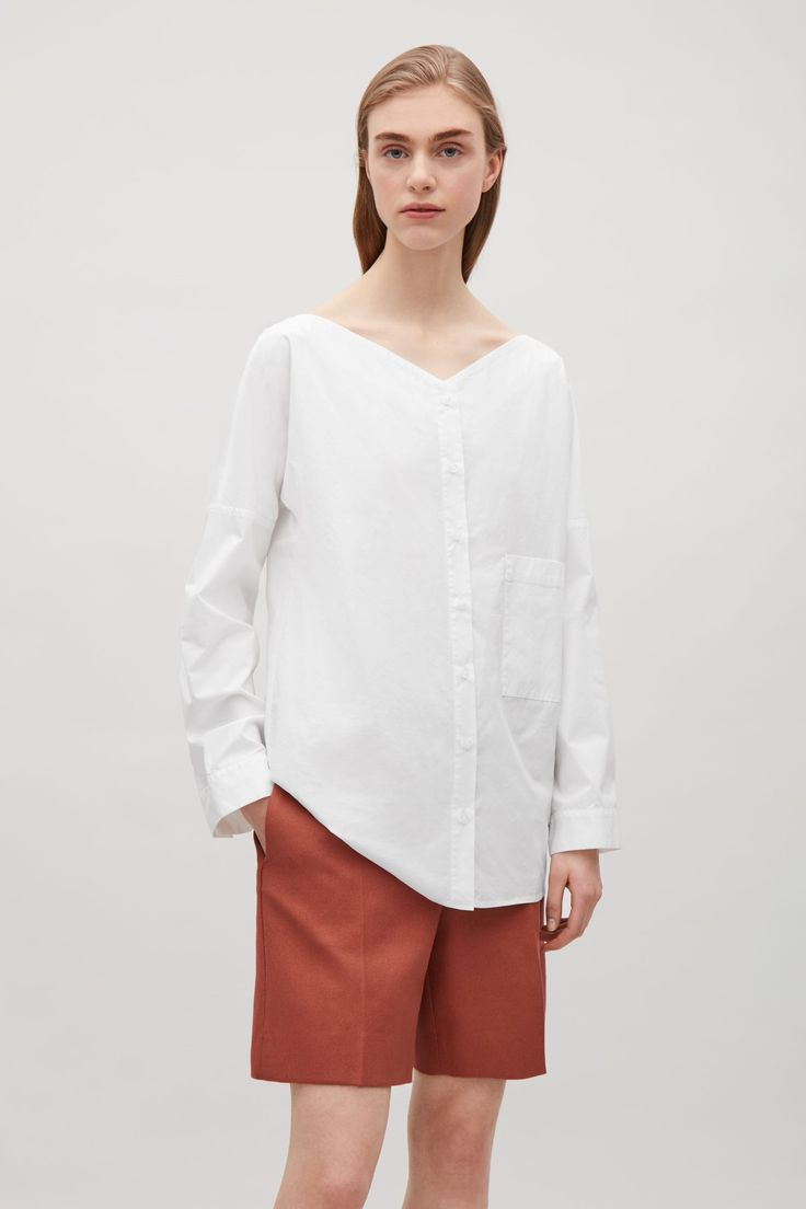 COS image 4 of Wide v-neck shirt in White