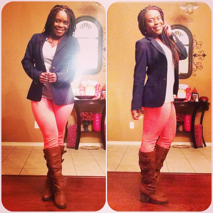 LOVE this color combo! Coral, grey, navy and brown. I was really excited about this outfit!! Coral/salmon jeggings from Walmart for $12, grey v-neck from Target for around $5 I think, navy tailored jacket from thrift store $5.99 (brand new) and brown Steve Madden heeled boots $25 (on sale at outlet store!!)